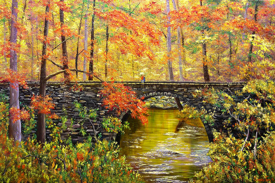 Landscape Painting - Blanchard Springs Arkansas by Connie Tom