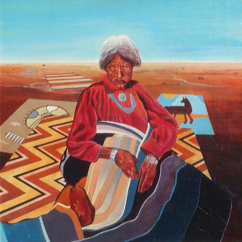 Old Indian Woman Painting - Blanket Weaver by Don Trout