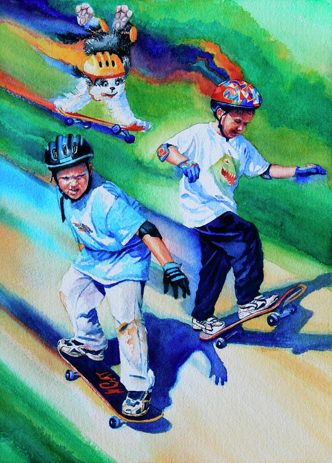 Skateboard Painting - Blasting Boarders by Hanne Lore Koehler