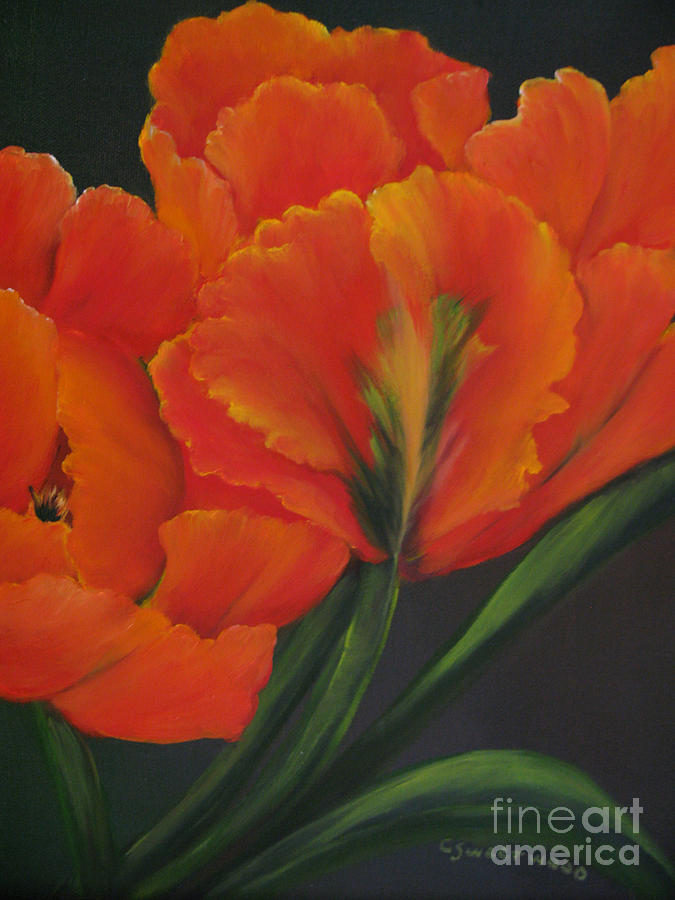 Tulips Painting - Blaze Of Glory by Carol Sweetwood