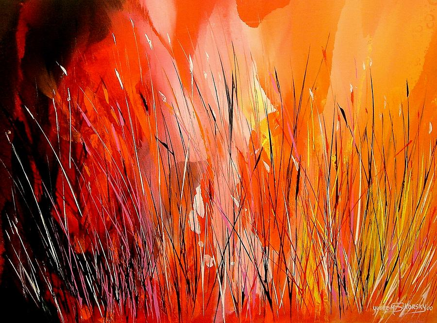 Abstract Painting - Blaze by Yvette Sikorsky