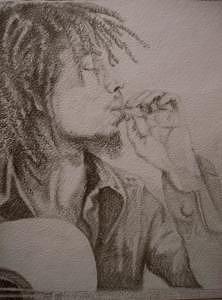Bob Marley Drawing - Blazin Bob Marley by Janet Gioffre Harrington