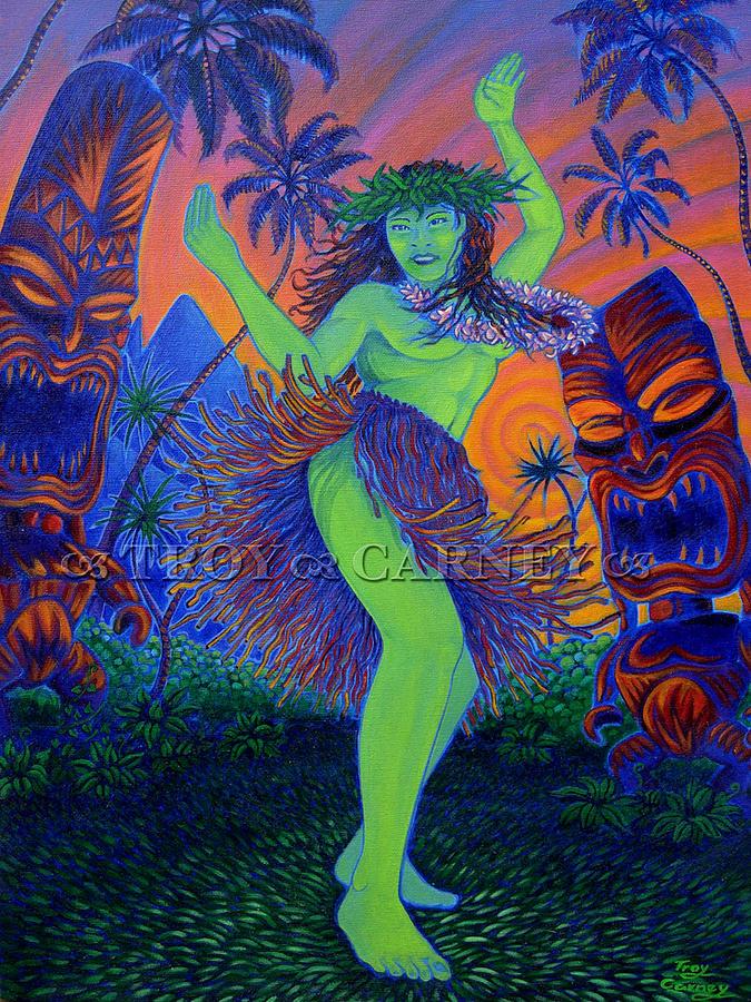 Hula Painting - Blazing Hula by Troy Carney