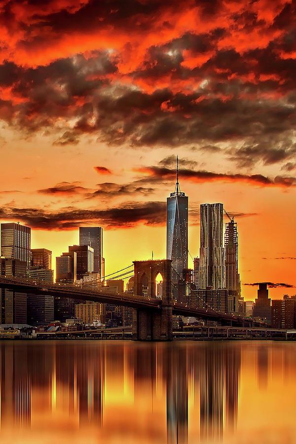 New York City Photograph - Blazing Manhattan Skyline by Az Jackson