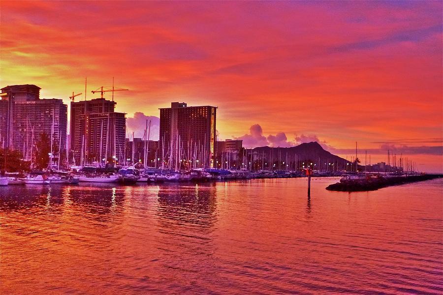 Honolulu Photograph - Blazing Orange Morning by Melvin Ah Ching