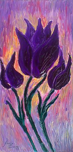 Blazing Purple Tulips Painting by Portland Art Creations