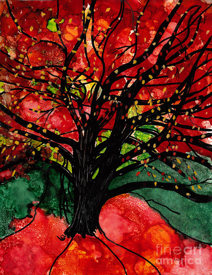Red Tree Mixed Media - Blazing Red Orange Autumn Tree by Conni Schaftenaar