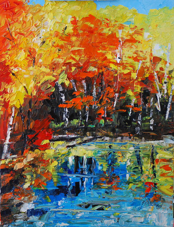 Landscape Painting - Blazing Reflections by Phil Burton