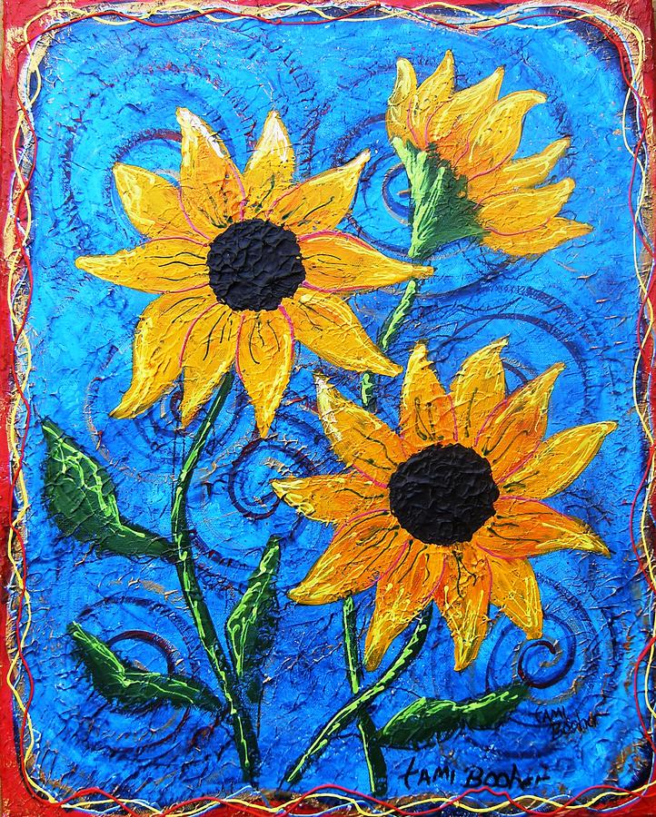 Blazing Sunflowers Five Painting by Tami Booher