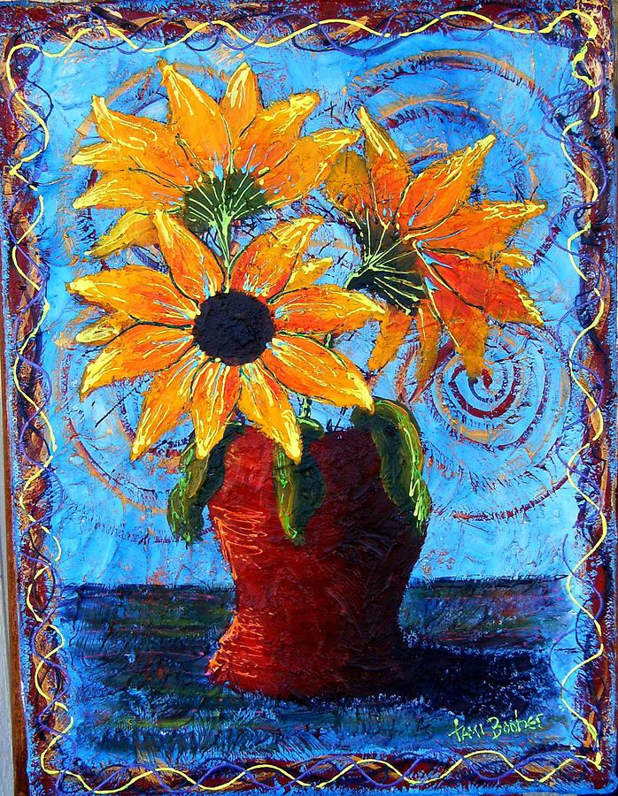 Blazing Sunflowers Painting by Tami Booher