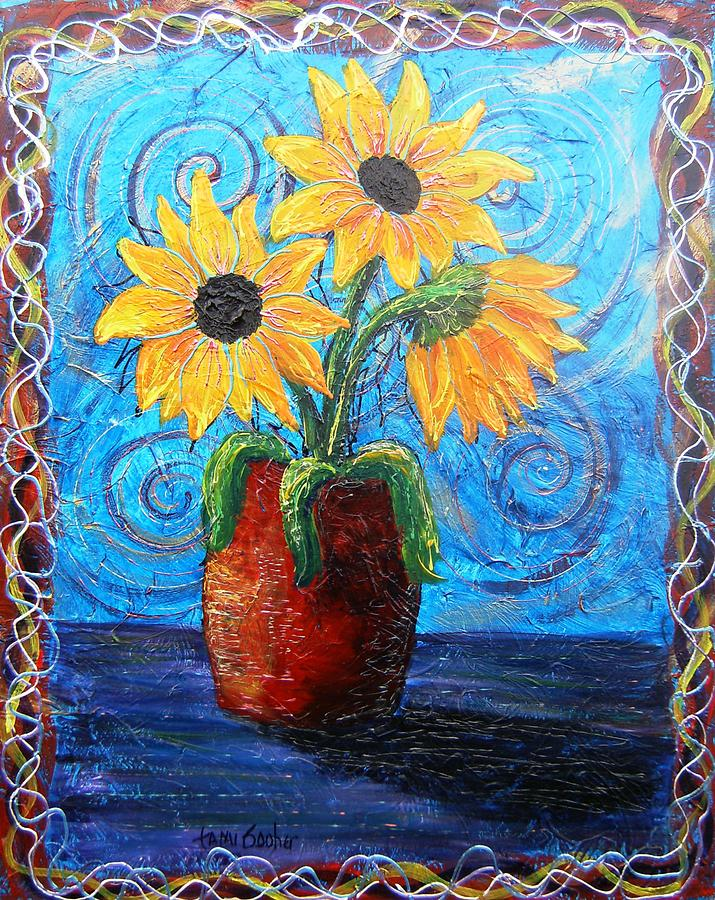 Blazing Sunflowers Three Painting by Tami Booher