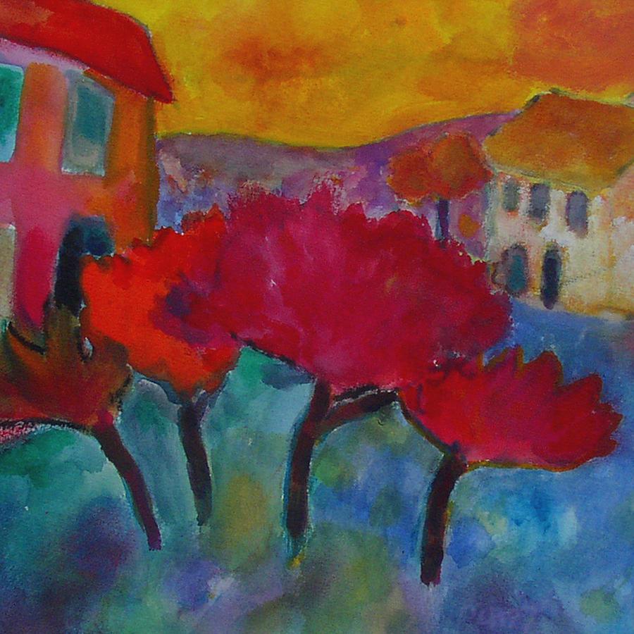 Landscape Painting - Blazing Trees by Lorraine Platt