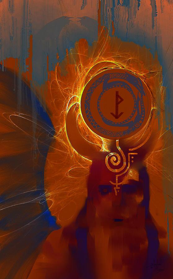 Spiritual Digital Art - Blazzing Wisdom Through Odins Essence by Stephen Lucas