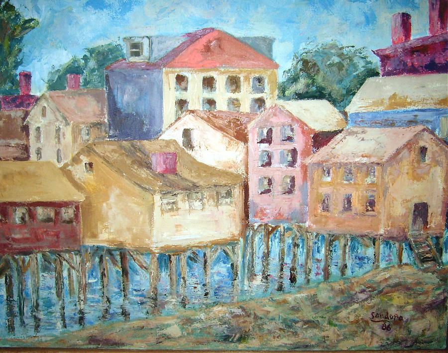 Bldgs In Boothbay Harbor Painting by Joseph Sandora Jr