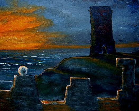 Tower Painting - Bleak Tower by Richard  Hubal