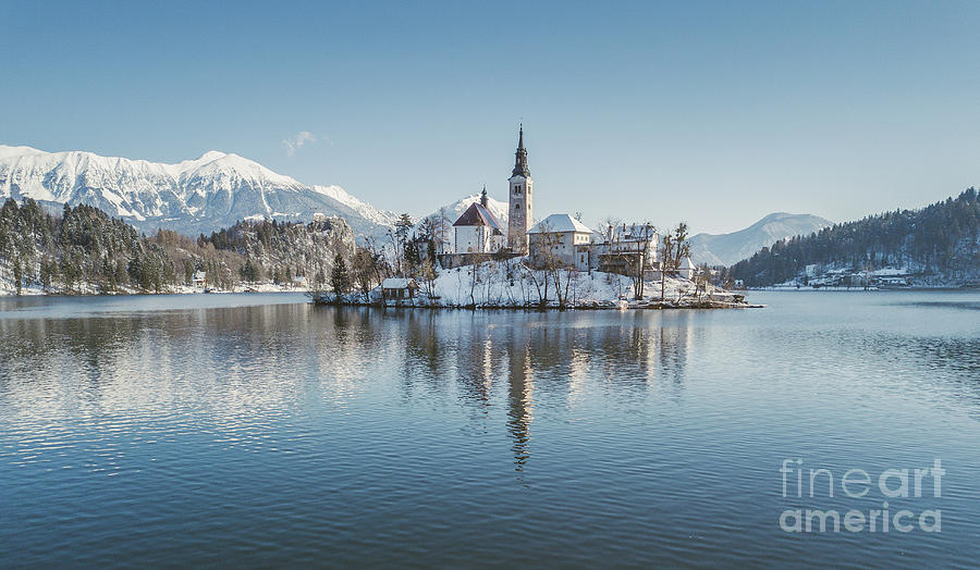 Aerial Photograph - Bled Island Winter Dreams by JR Photography