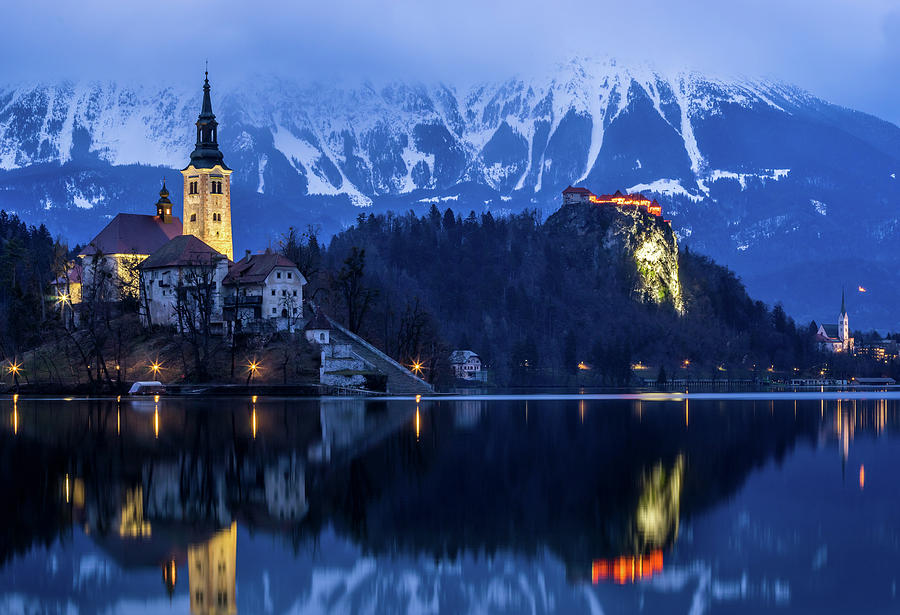 Bled Photograph - Bled Lake At Blue Hour by Vyacheslav Isaev
