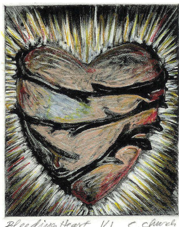 Heart Print - Bleeding Heart by Cynthia  Church