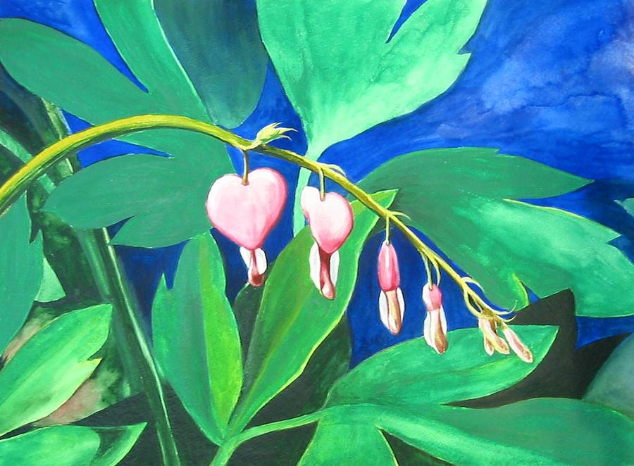 Flower Painting - Bleeding Hearts by Carrie Auwaerter