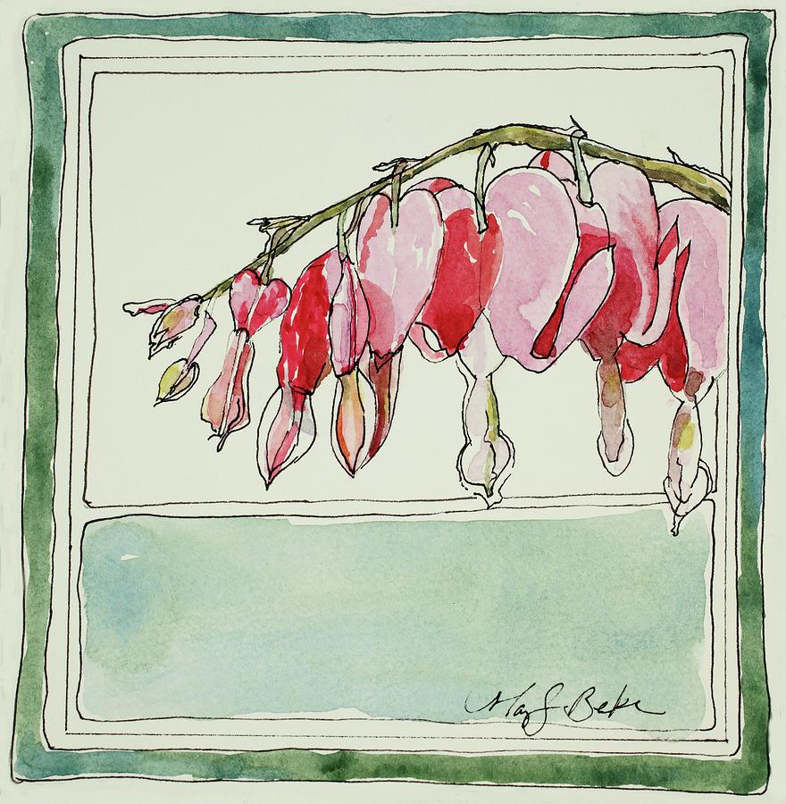 Watercolor Painting - Bleeding Hearts II by Mary Benke