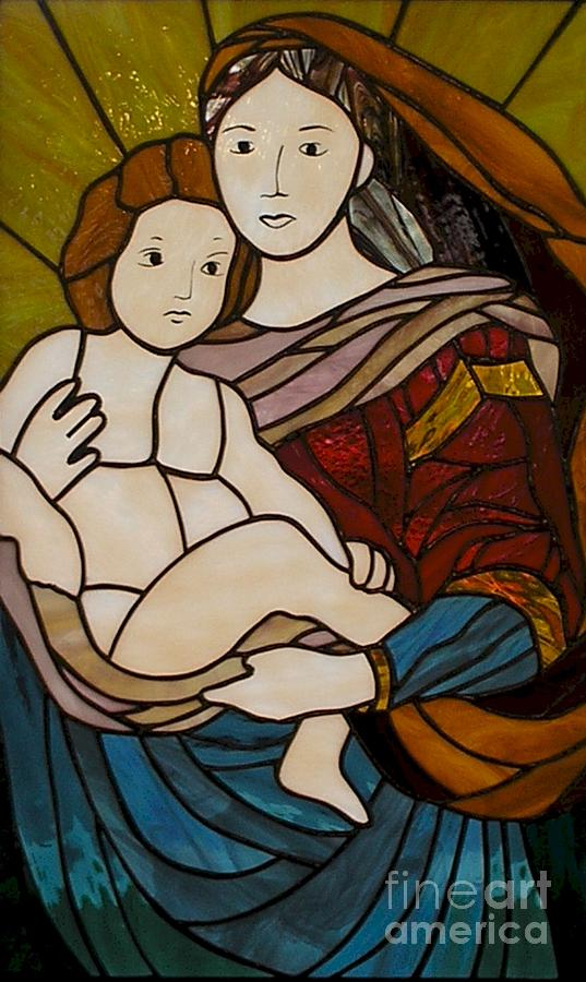 Mary And Jesus Glass Art - Blessed Art Thou Among Women-mary by David Gomm