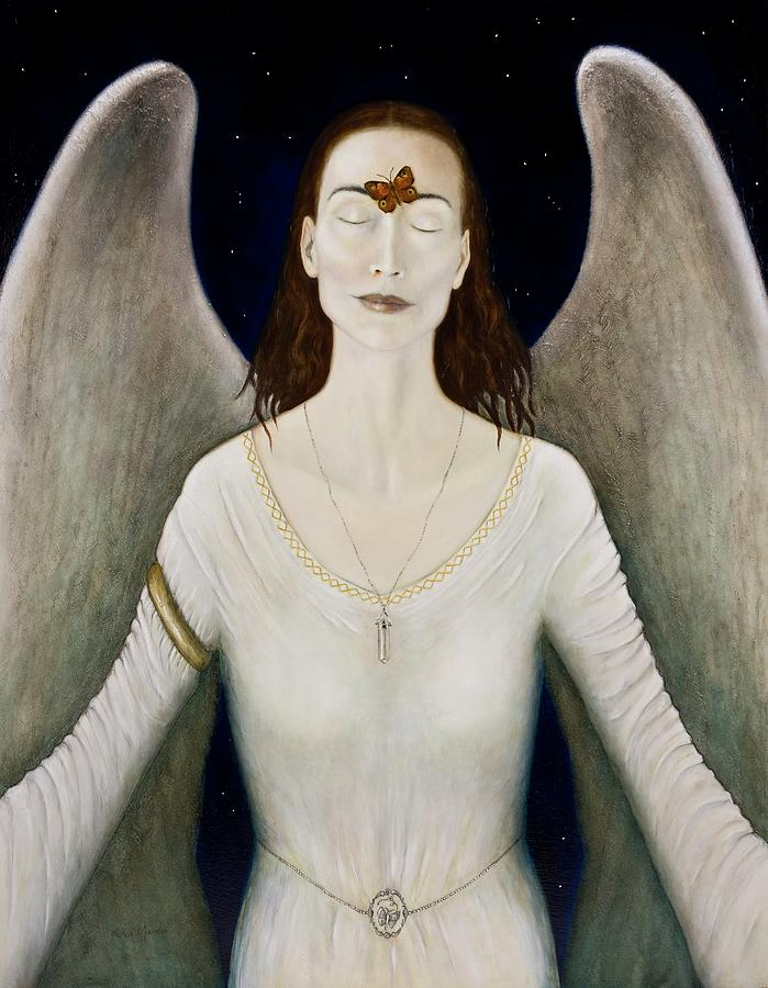Angel Painting - Blessed By A Winged Being by Nanne Nyander