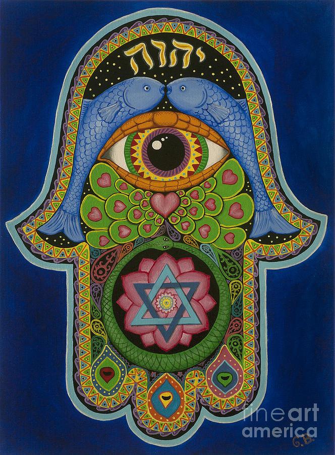 Hamsa Painting - Blessing by Galina Bachmanova
