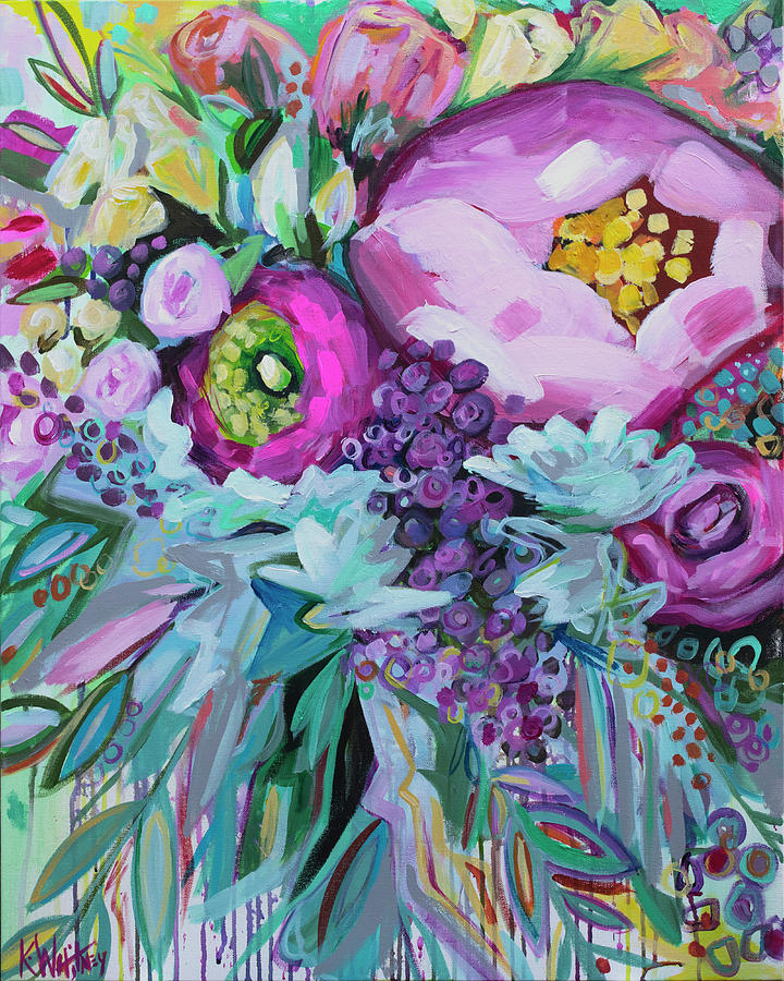 Bright Painting - Blessings Come From Raindrops by Kristin Whitney