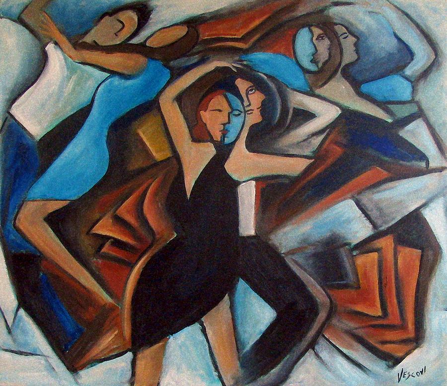 Tango Painting - Bleu Danse by Valerie Vescovi