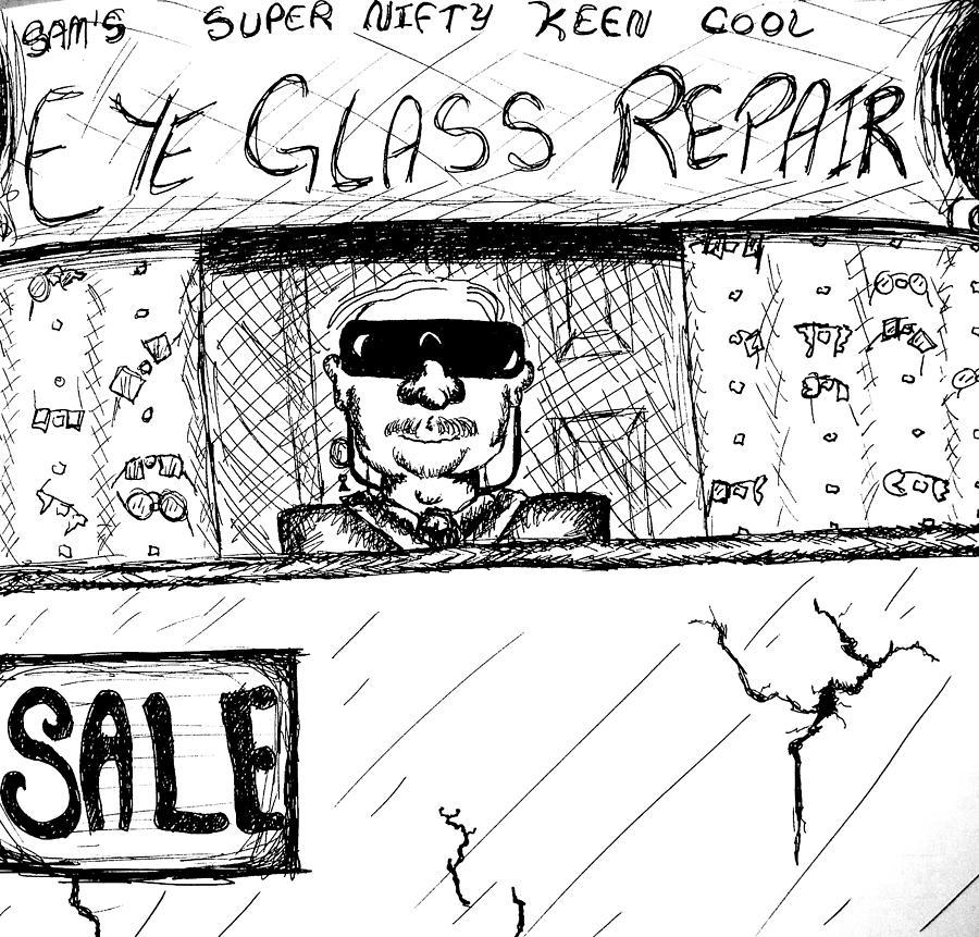 Blind Drawing - Blind Eye Glass Repair by Jera Sky