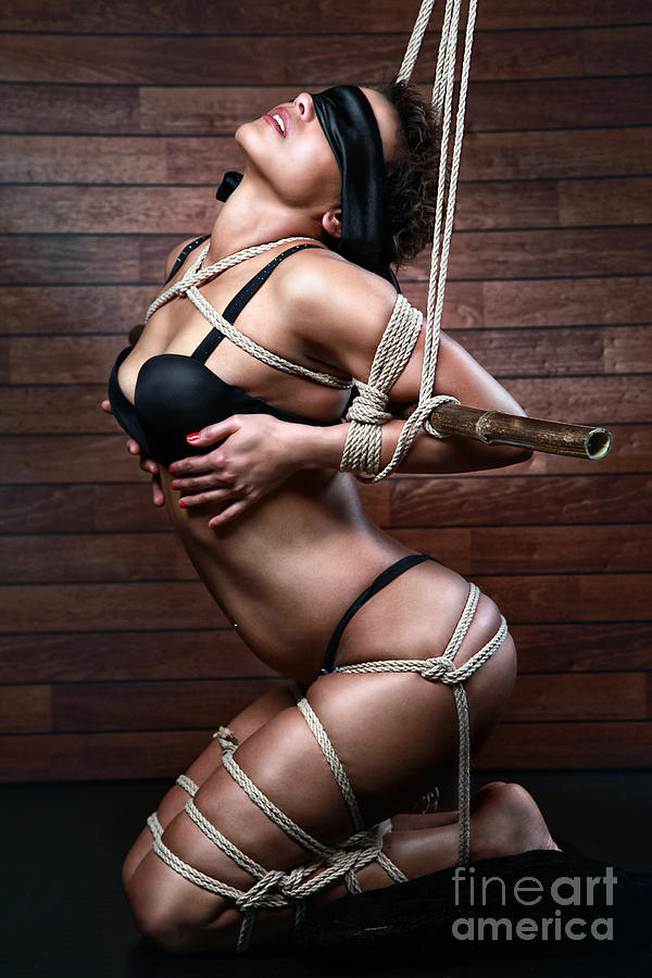 Bondage Photograph - Blindfold, Tied In Lingerie To A Bamboo Tube - Fine Art Of Bondage by Rod Meier
