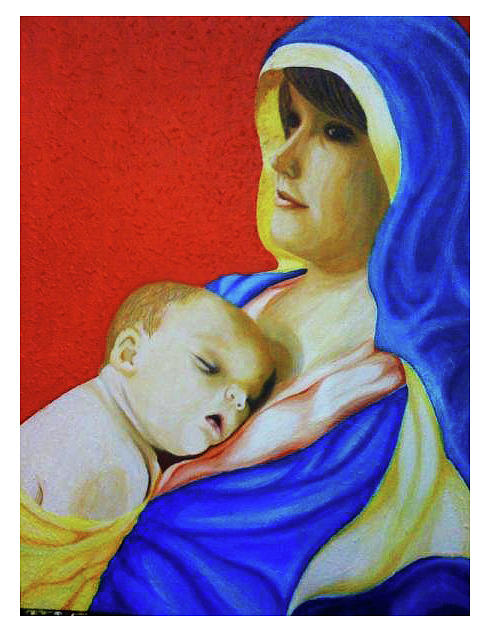 Mother And Child Painting - Bliss by Lei De Leon