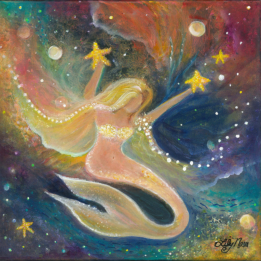Mermaid Painting - Bliss Mermaid by Lily Nava
