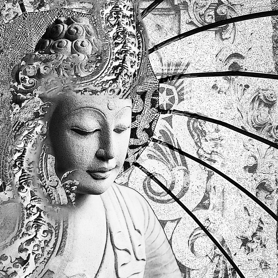 Bliss of being black and white buddha art