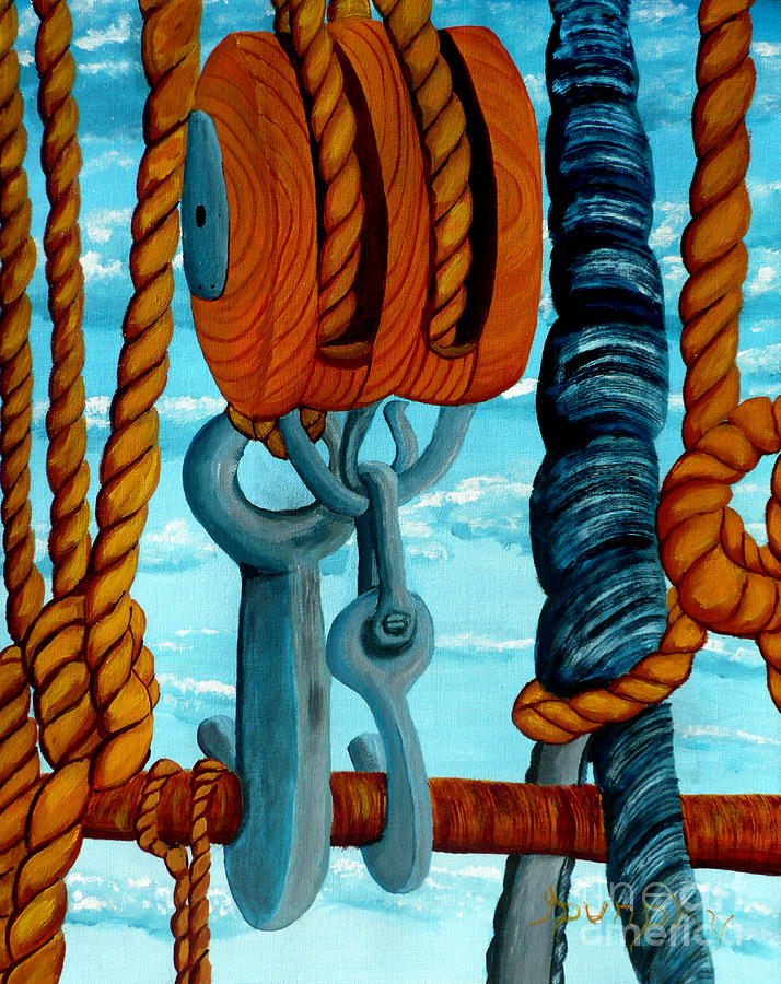 Sailing Painting - Block And Tackle by Anthony Dunphy
