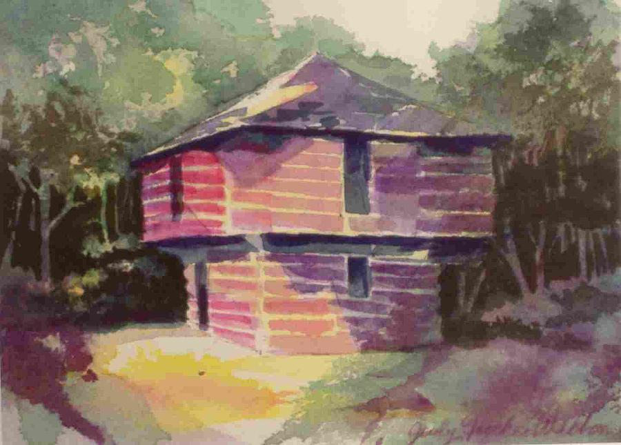 Frontier House Painting - Blockhouse by Judy Walton