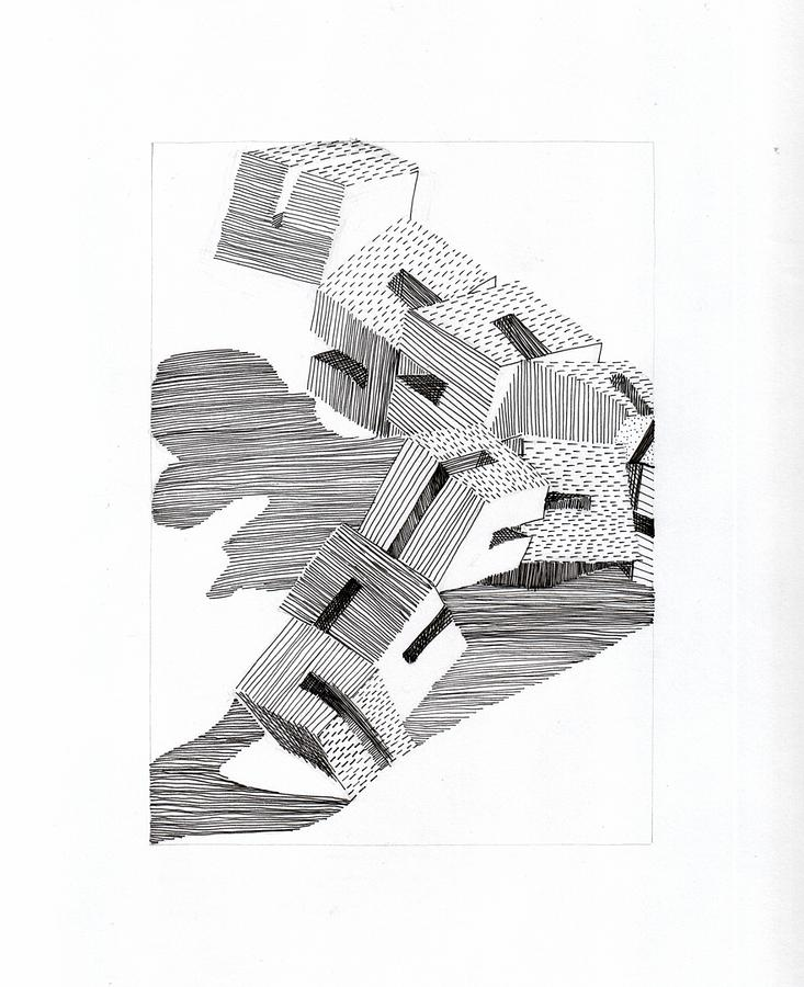 Ink On Paper Drawing - Blocks by Melissa Wong