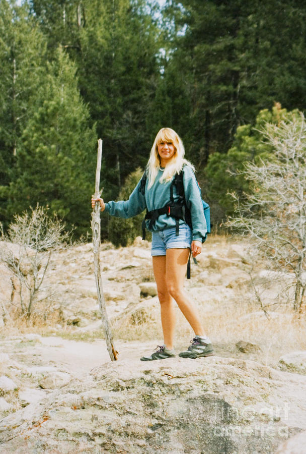 Blond Hiker With Hiking Stick Photograph
