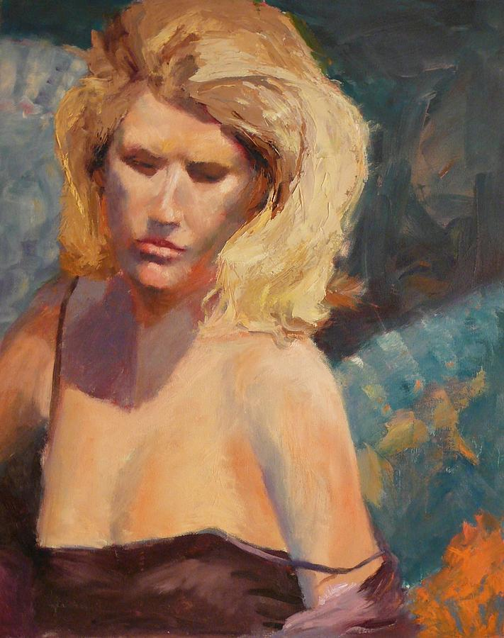 Young Woman Painting - Blonde In Black by Irena  Jablonski