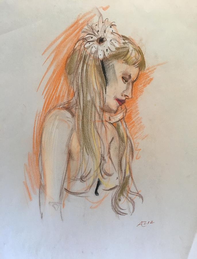 Blonde With White Flower Pastel by Alejandro Lopez-Tasso