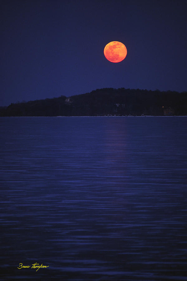 Lake Photograph - Blood Moon - Black Point - Lake Geneva Wisconsin by Bruce Thompson