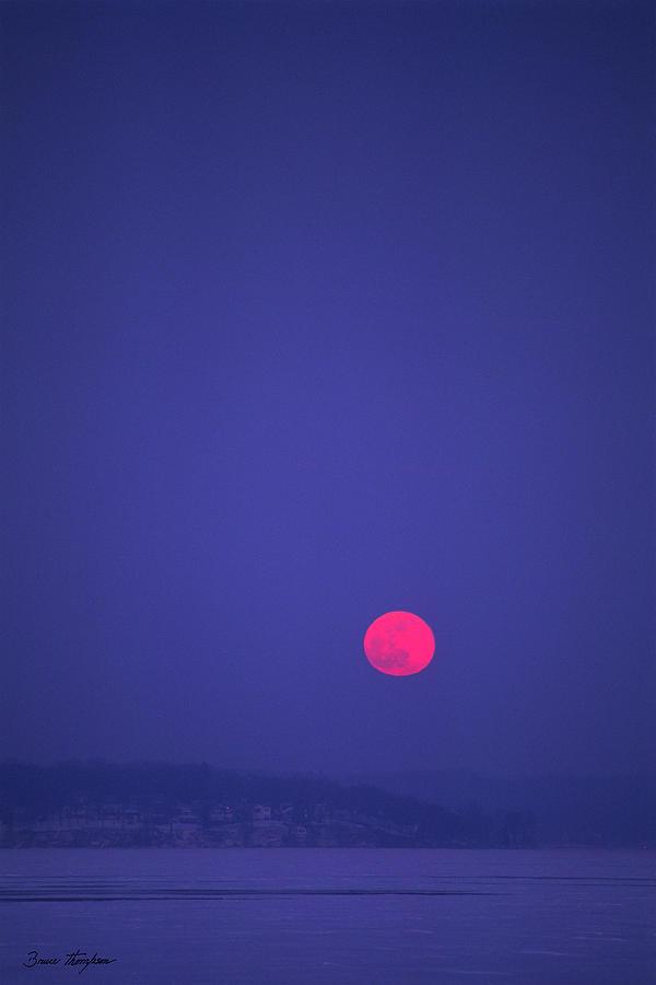 Blood Moon - Cedar Point - Lake Geneva Wisconsin by Bruce Thompson