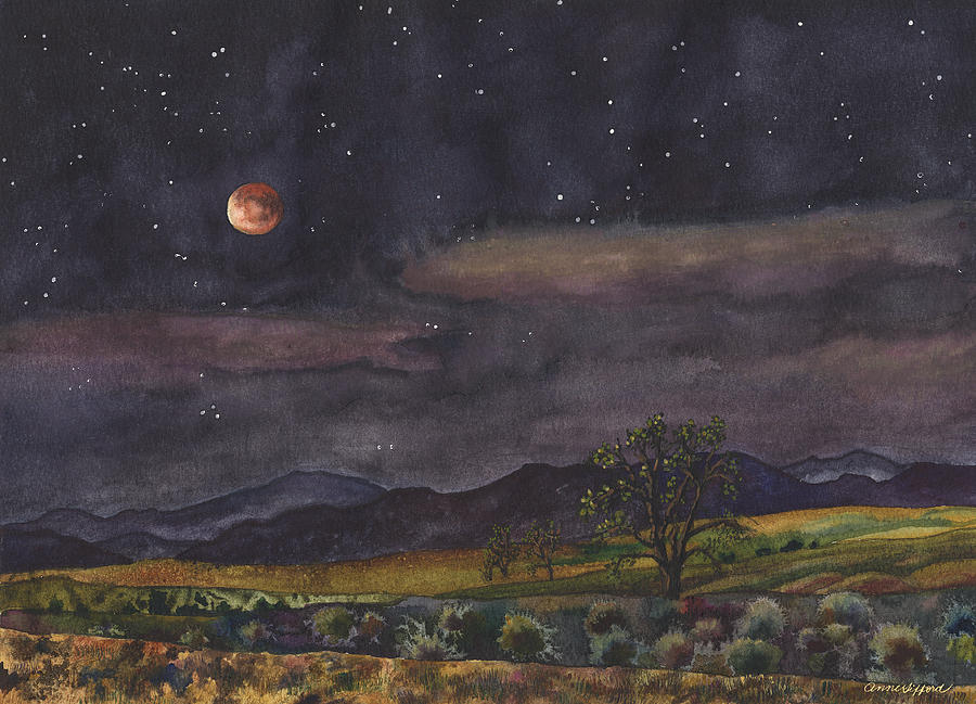 Night Painting Painting - Blood Moon Over Boulder by Anne Gifford