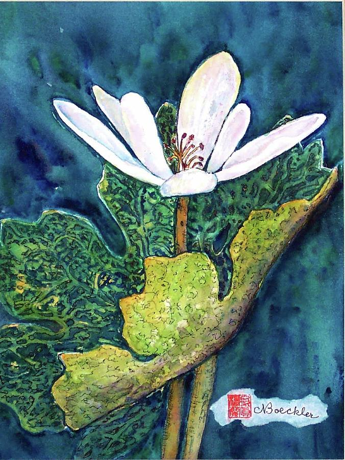 White Flower Painting - Blood Root by Norma Boeckler