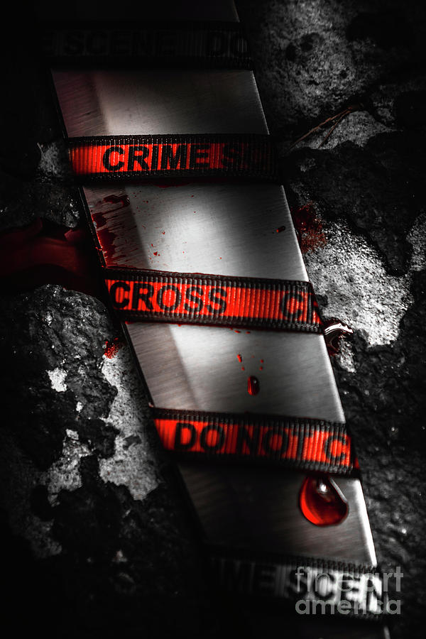 Clue Photograph - Bloody Knife Wrapped In Red Crime Scene Ribbon by Jorgo Photography - Wall Art Gallery