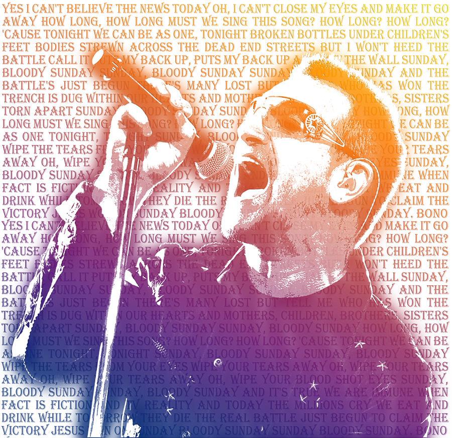 Bono Paintings Digital Art - Bloody Sunday by Mark Compton