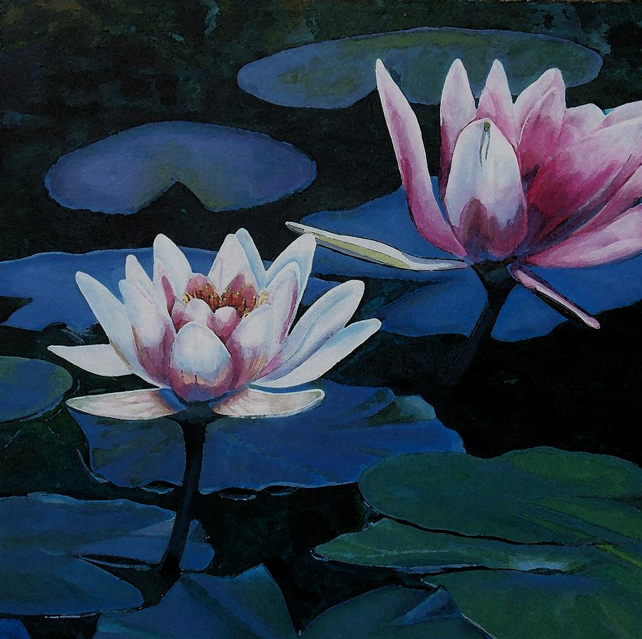Waterlillies Painting - Bloom Moon by Joan Cookson