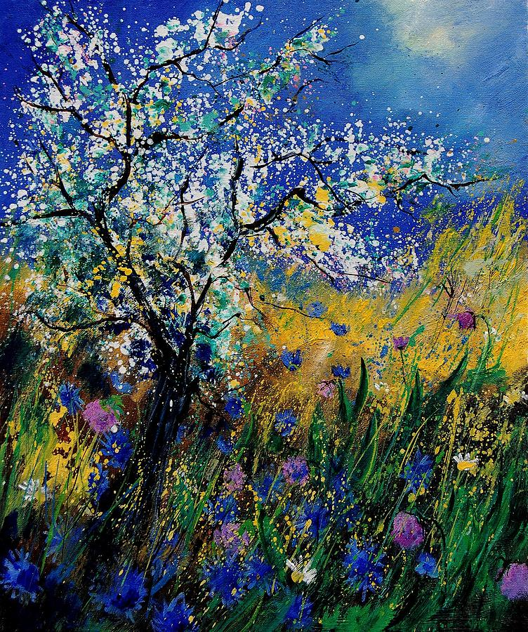 Spring Painting - Blooming Appletree by Pol Ledent