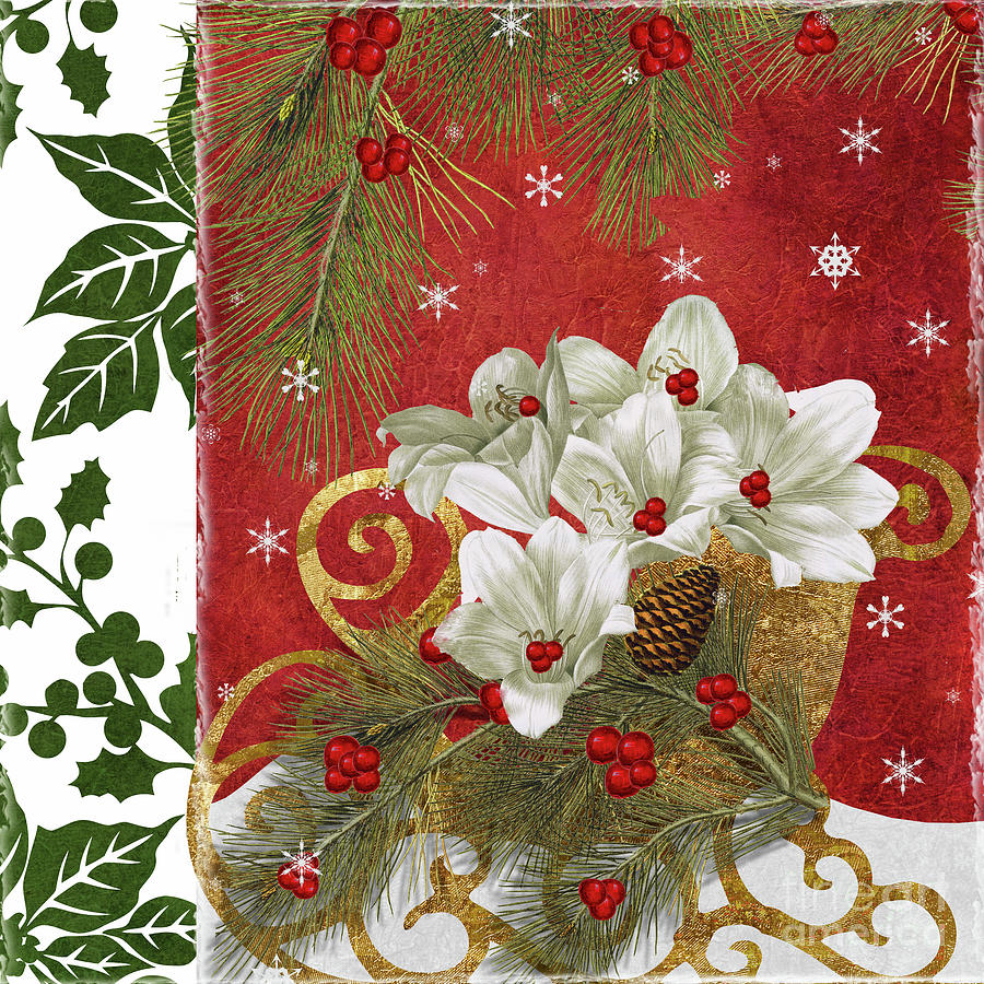 Christmas Painting - Blooming Christmas II by Mindy Sommers