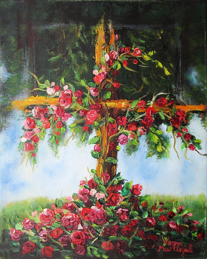 Cross Painting -  Blooming Cross by Vesna Martinjak